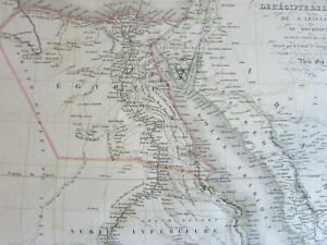 Egypt-Nubia-North-Africa-vast-Mts-of-Moon-scarce-c-1830-Lapie-large-old-map