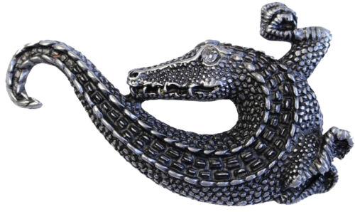 Gürtelschnalle Krokodil mit Strassaufe altsilber