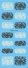 Nail Art Water Transfers Stickers Decals WHITE BLACK Flowers Daisy Stamping DS15