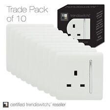Trendi 1 Gang Moderno brillante de 13 Amp de conmutada Plug Socket Blanco art-skt13 X 10