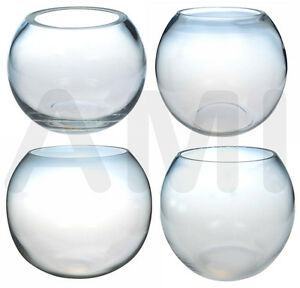 Clear glass fish bowls vases wedding decorations 10cm for Vase aquarium rond