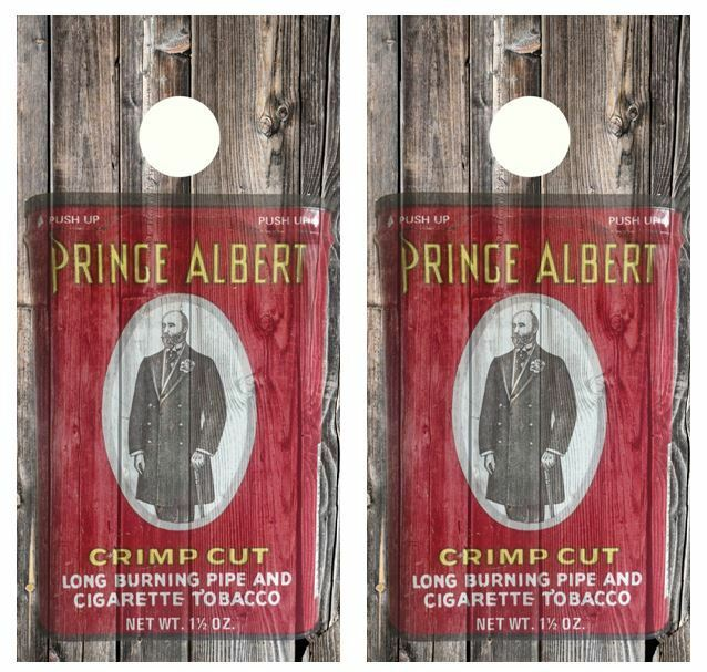 Vintage Prince  Albert Tin Barnwood Cornhole Board Wraps FREE SQUEEGEE  hot limited edition
