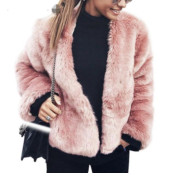 Streetwear női faux kiöltözik fur kabát kabát Streetwear téli rózsaszín  rövid bunda kabát kabát kiöltözik 43e3f9d6d5