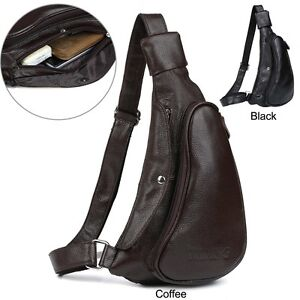 fa5e3997e2 Classic Men s Bull Leather Backpack Chest Packs Shoulders Sling Bag ...