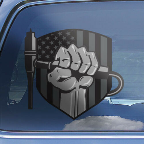 American flag steamfitter toolbox window sticker Pipefitter superhero decal
