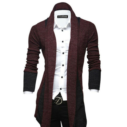 Mens Knitted Cardigan Coat Slim Long Sleeve Casual Sweater Winter Jacket Jumpers