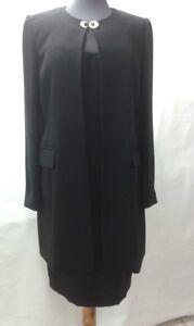 info for f3d5f d7d78 Dettagli su tailleur completo cerimonia elegante donna spolverino + abito  tubino nero