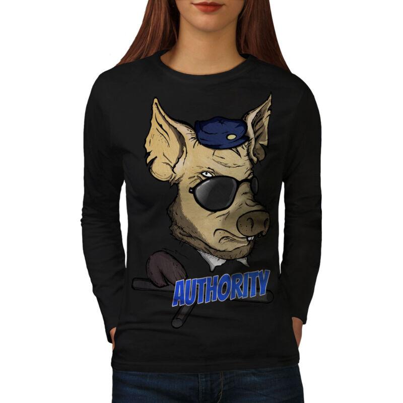 Wellcoda Autoridad Cerdo Fresco Para Mujer Manga Larga T-shirt, Divertido Diseño Casual