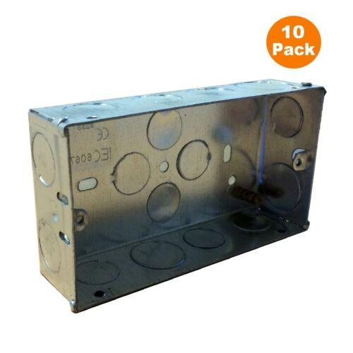 10 X Double Metal Back Box 35 mm Flush Mur Pattress//2 Gang Electrical Sockets