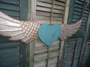Details About Angel Wings Metal Wall Decor Distressed Wood Turquoise Heart Barn