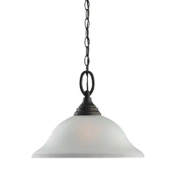 Sea Gull Lighting Wheaton Heirloom Bronze Glass Bell Pendant Light 65625-782