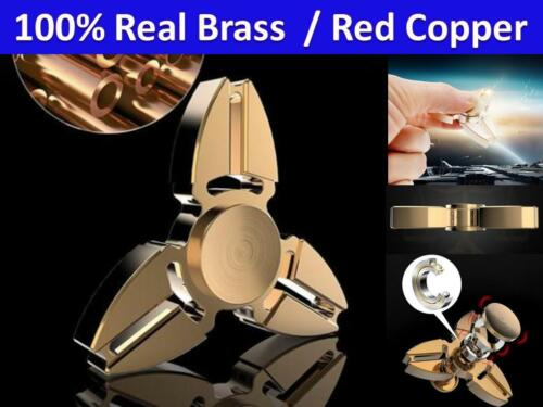 Tri Fidget Gold Hand Spinner Triangle Brass Copper Finger EDC Focus ADHD Anxiety