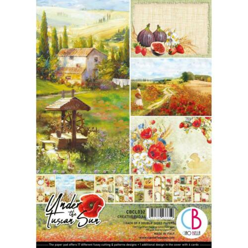 TUSCAN SUN A4 Creative Paper Pack 9 Double-Sided Sheets CIAO BELLA CBCL032 New