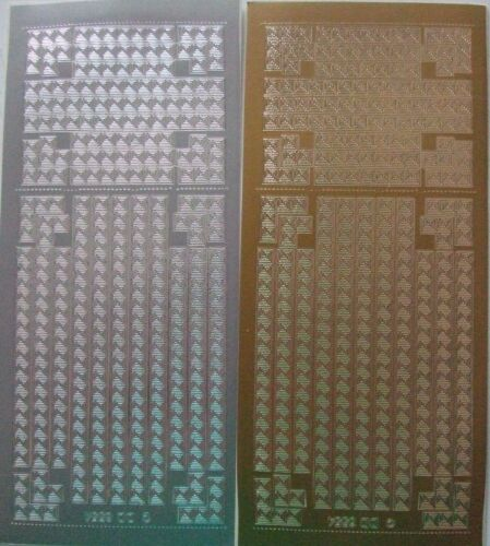 fronteras 2 hojas de esquinas decorativas y líneas 2 Peel-Offs de oro y plata