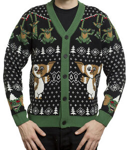 Gremlins Mondo Holiday Christmas Ugly Sweater Mens Cardigan New All