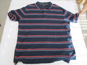 aeb58fde0680 Black Brown 1826 Short Sleeve Polo Shirt Men s Size L Navy Blue ...