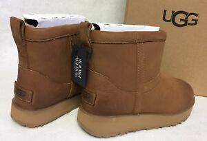 619aae4294 Image is loading Ugg-Australia-Classic-Mini-Leather-Waterproof-Chestnut- Boots-