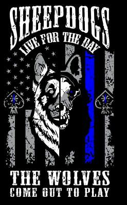 Thin Blue Line Vertical Flag Police Leo Sheepdogs Wolfes