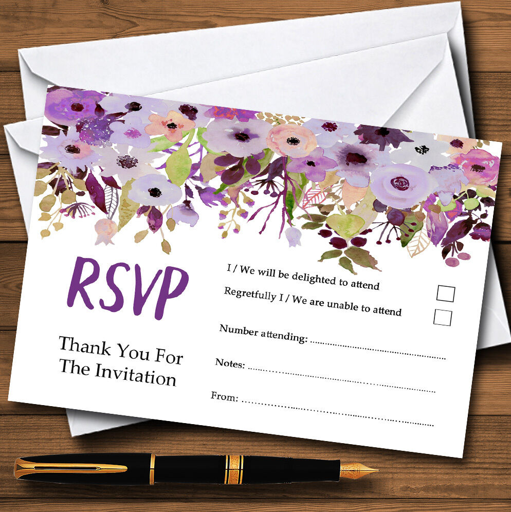 Lilac & lila Peonies Personalised RSVP Cards