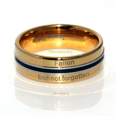 """""""Not Forgotten"""" 6MM Tungsten Carbide Ring 18K Gold IP & Black Epoxy Size 6-11"""