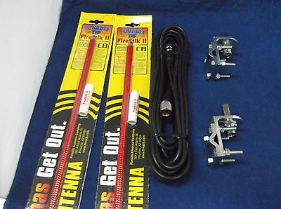 BRACKETS /& STUDS NEW 2 FIRESTIK 2 FS4 B 4FT BLACK CB ANTENNAS 12FT DUAL COAX