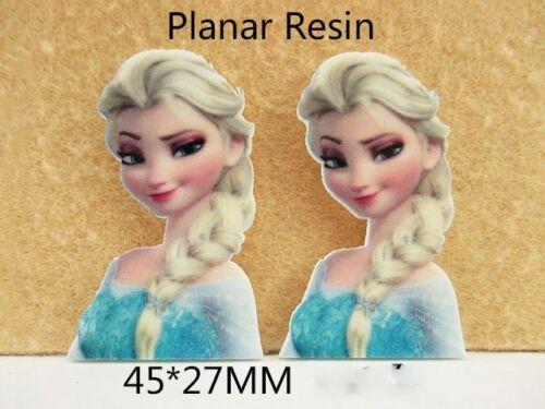 5 x 45 mm Elsa from Frozen LASER CUT Dos Plat Résine Cheveux Noeuds Bandeaux plaques