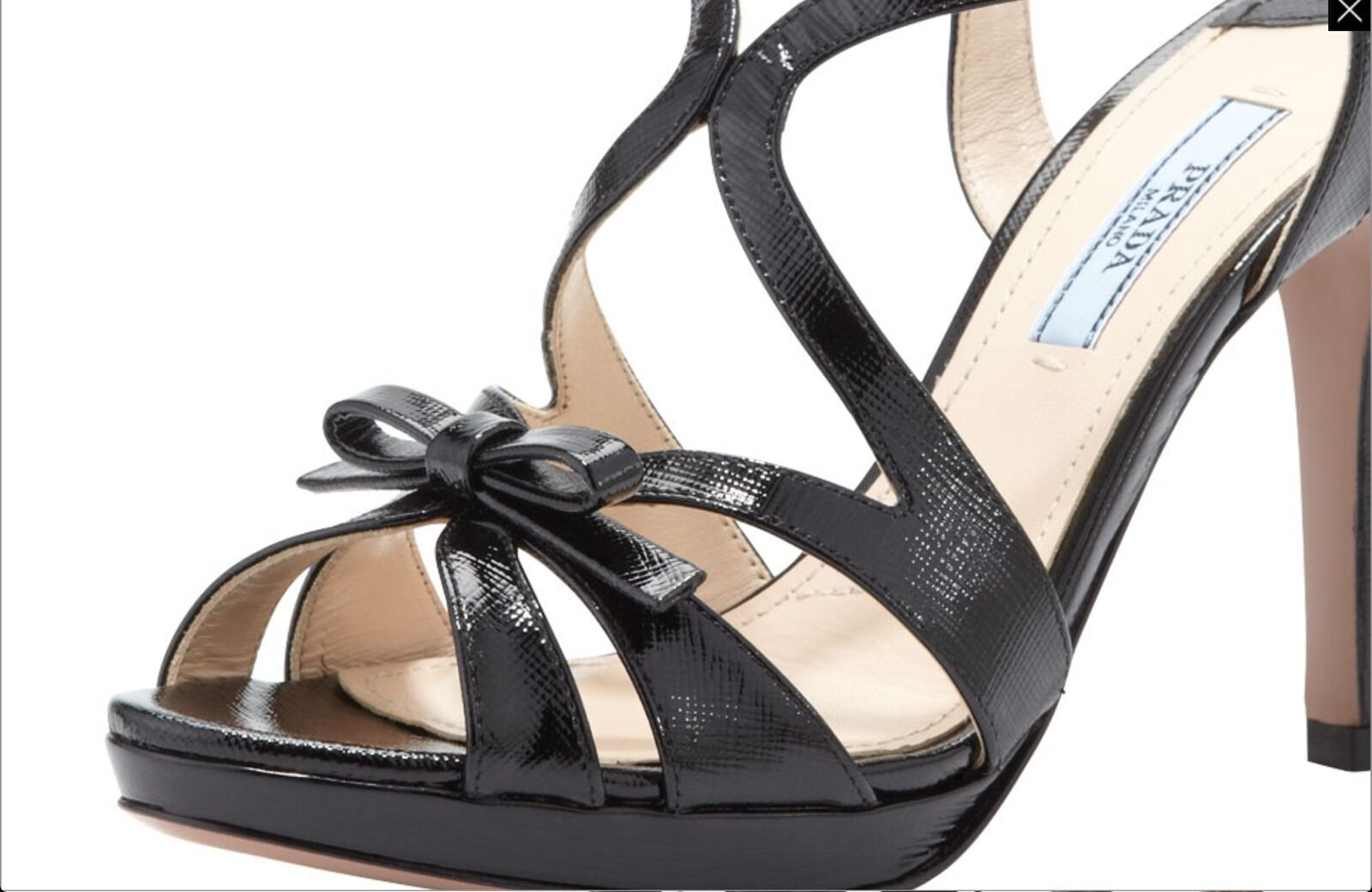 PRADA Vernice Black Patent Leather Sandals 38.5 NIB 8.5 Saffiano  790 shoes