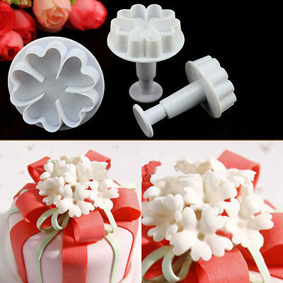 New 3Pcs Heart Flower Cake Decorating Cutter Plunger Sugarcraft Fondant Tool #T