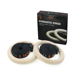 32MM-5Billion-Wood-Gymnastic-Olympic-Rings-with-Buckle-Straps-Gym-Strength