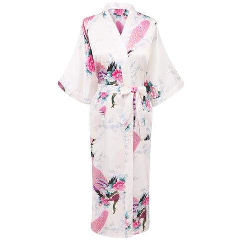 Small to 3XL Elegant Long Floral Silk Kimono Womens Robe