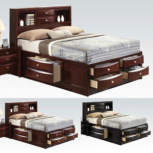 ireland black espresso eastern king bed multi drawers 20640 | s l300