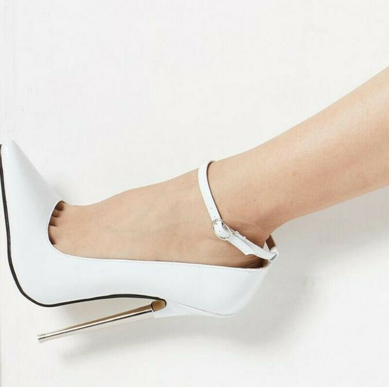 Womens Pointy Toe 18 CM Stiletto Stiletto Stiletto Very High Heels Ankle Strap Shinny Leather New 89d326