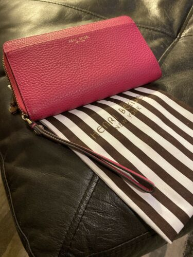 Henri Bender Phone Wallet/Pink Pebbled Leather Use