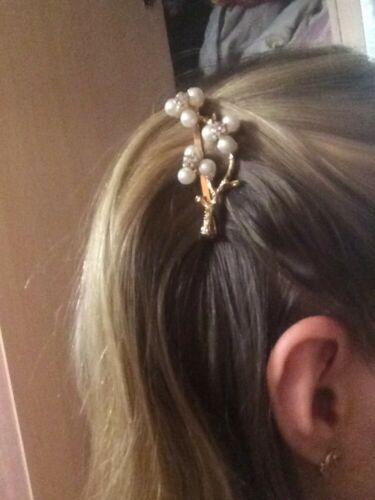 SILVER 2 LEAF BRANCH TWIG HAIR CLIP //BARETTE BRIDAL//WEDDING PEARL GOLD