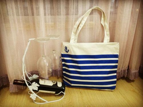 Ladies Girls Canvas Shoulder Bag Shopping Summer Beach Handbag Tote with Zip