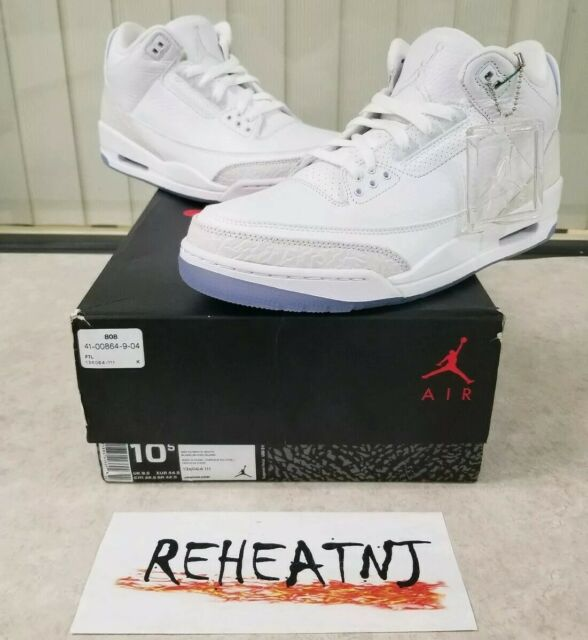 sports shoes 6ceb1 08cc4 2018 Nike Air Jordan 3 III Retro Pure White 136064-111 Mens Size 10.5