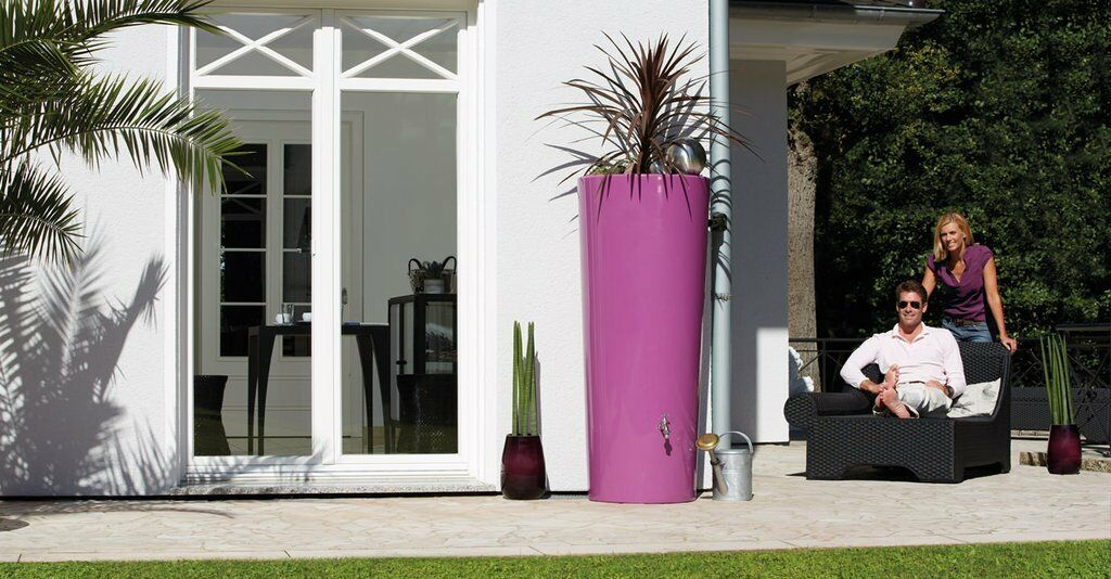 Elegant modern 2 in 1 water butt with top planter -350l capacity