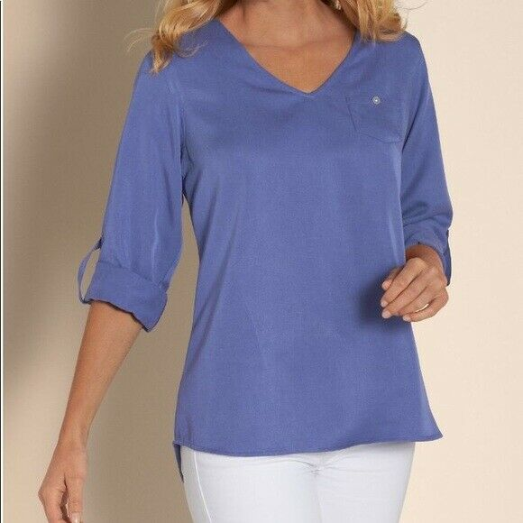 SOFT SURROUNDINGS Woherren 'TENCEL TUNIC II' 27747 Blau RELAXED FIT TUNIC TOP - L