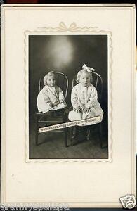 Antique Photo In Folder-Margaret & Marie Walker-2 Cute Little Girls
