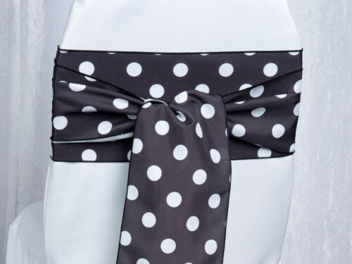 "50 Polka Dot Shiny Satin Chair Sashes Bows 6/""x108/"" 6 Colors Wedding Party Dots"
