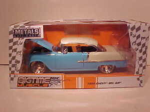 1955-Chevy-Bel-Air-Diecast-Car-1-24-Jada-Big-Time-Musculo-8-in-approx-20-32-cm-Azul-Cromo-Llantas
