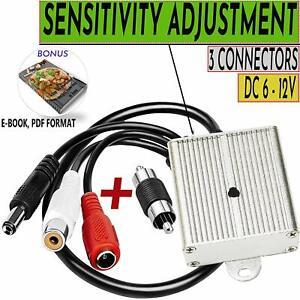 CCTV-Microphone-Security-Audio-TINY-Outdoor-Surveillance-RCA-DVR-High-Sensitive