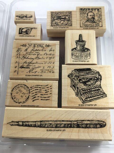 Retired Stampin Up Set of 9 Office Ephemera ~ Pen, Ink bottle, Postal~  2004