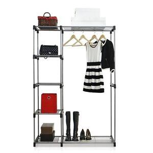 Image Is Loading Furinno Wayar Double Rod Freestanding Closet Grey WS15005