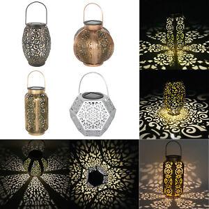 Outdoor Solar Lantern Hanging Light Led Pillar Yard Patio Lighting Garden Lamp E