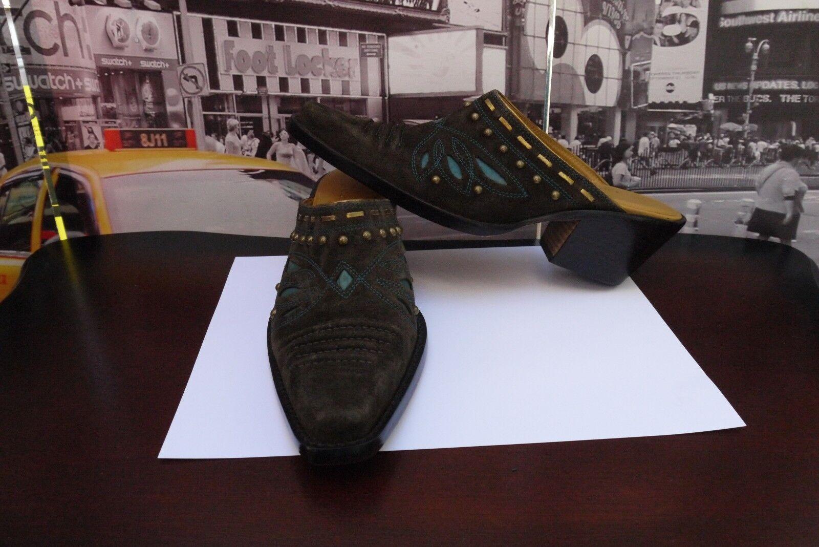 Cole Haan Morgan D18352 Gamuza Marrón Turquesa Western mula botas para mujer 6 B