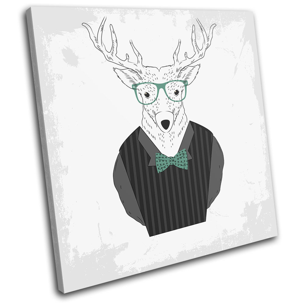 Funny Stag Illustration Animals SINGLE TELA parete arte foto stampa stampa stampa d17893