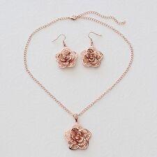 Neu 42cm+8cm BLÜTEN HALSKETTE OHRHÄNGER SCHMUCKSET rosegold Ohrringe COLLIER