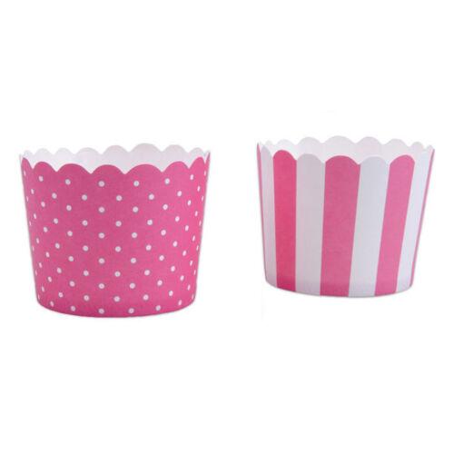 Mini Cupcake-Förmchen pink-weiß 12 Stück