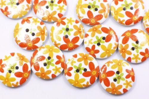 Orange Flower Wooden Sewing Button 25mm 50pcs
